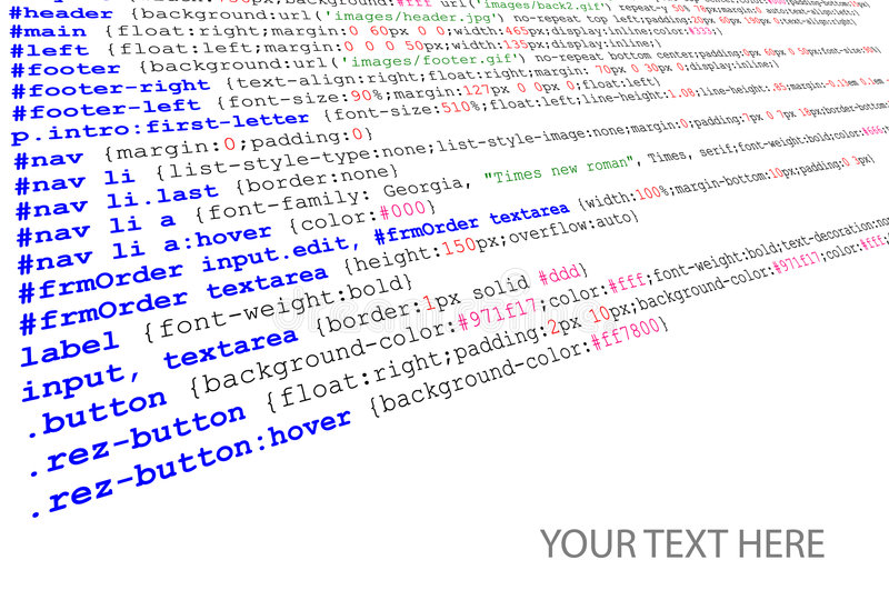 Download Stylesheet Source Code Listing Stock Vector - Image: 7883435