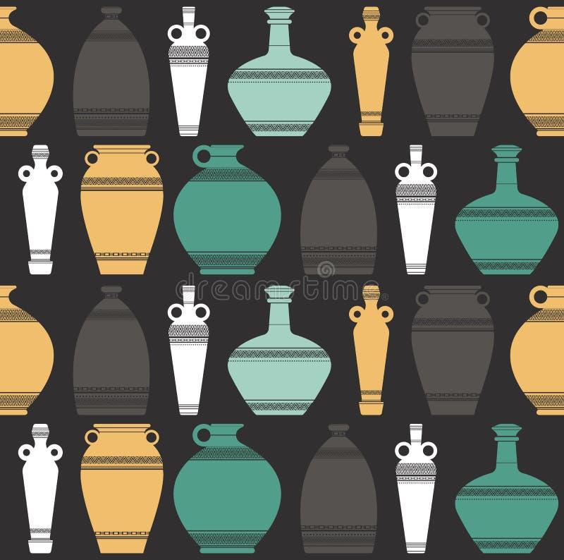 Stylih sömlös modell med vaser vektor illustrationer