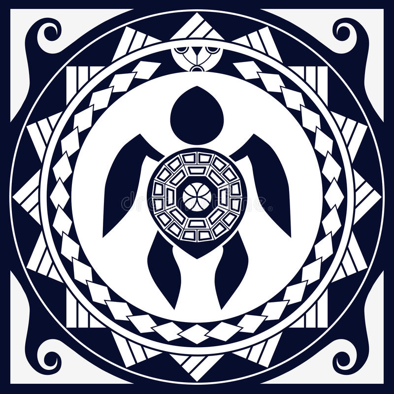 Free Styling Polynesian Patterns And Sea Turtle Silhouette Royalty Free Stock Images - 62933449