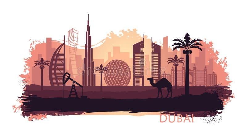 A stylisé le kyline de Dubaï avec le chameau et le palmier dattier avec des taches et éclabousse de la peinture Les Emirats Arabe illustration libre de droits
