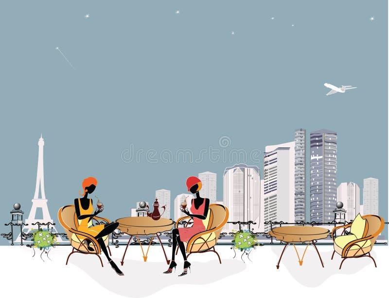 stylised cafeflickor royaltyfri illustrationer