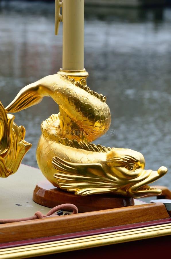 Stylised fish detail of royal barge. London royalty free stock photo