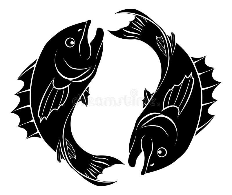 Stylised fiskillustration vektor illustrationer