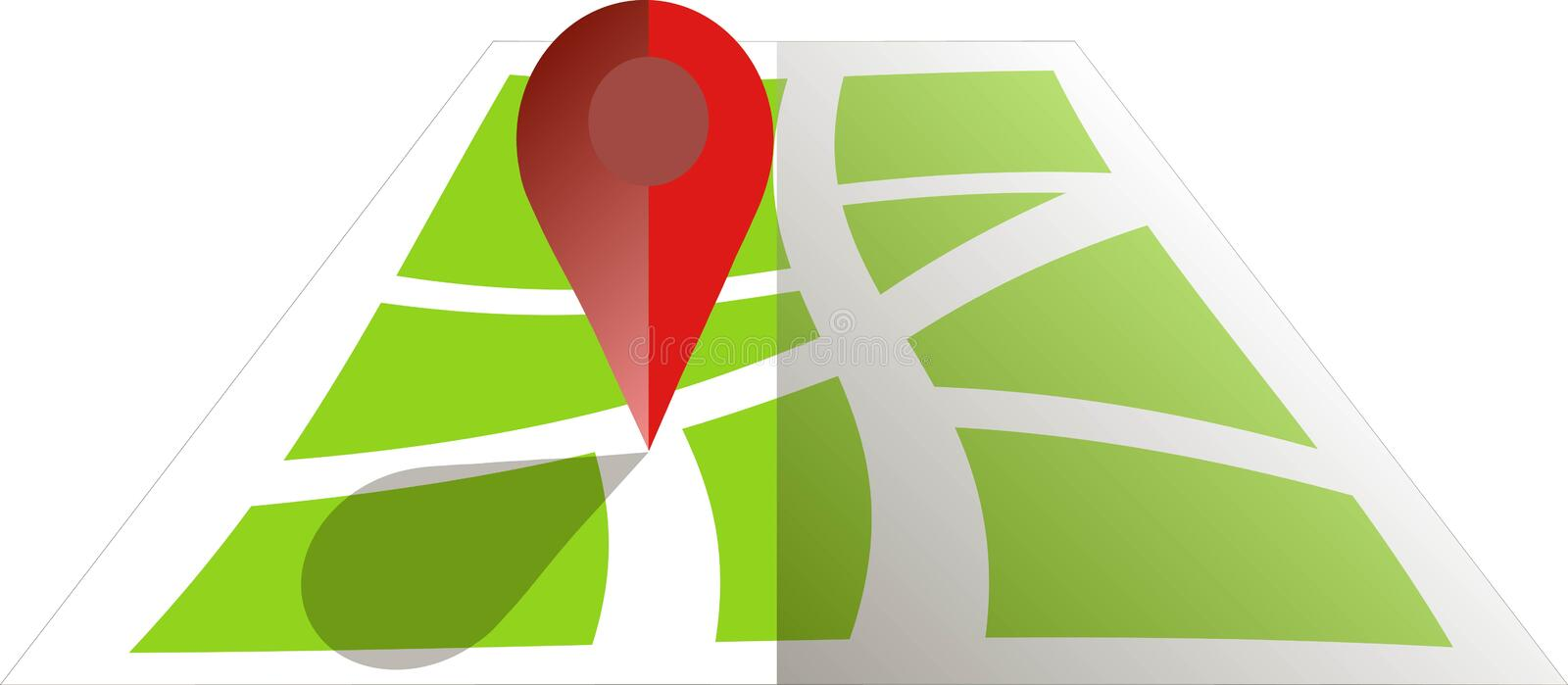 Stylised green map with red GPS dot. Flat design, object on white, design element. Vector stock illustration