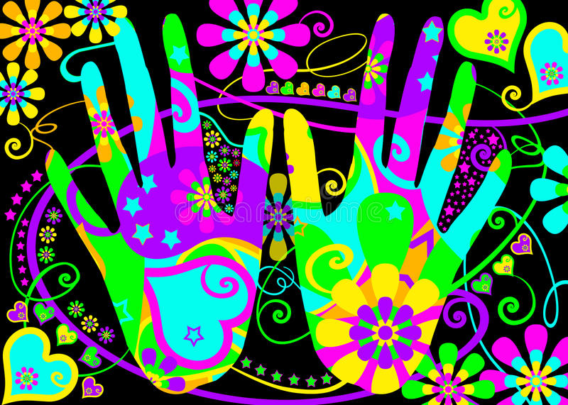 Stylised hippie hands. A pair of hands stylized with a flower power psychedelic pattern in bright colors with hearts, flowers and stars for backgrounds, post