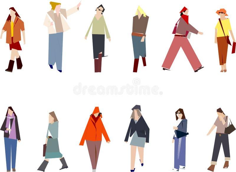 stylised kvinnor royaltyfri illustrationer