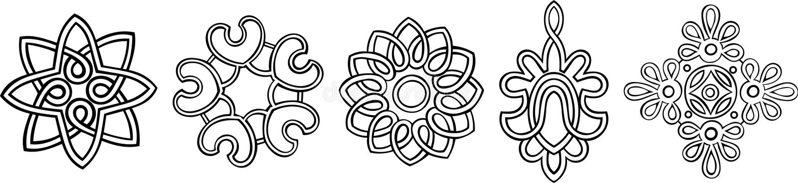 Stylised Medallions. Set of 5 hand-drawn, stylised medallion patterns to incorporate into your design vector illustration