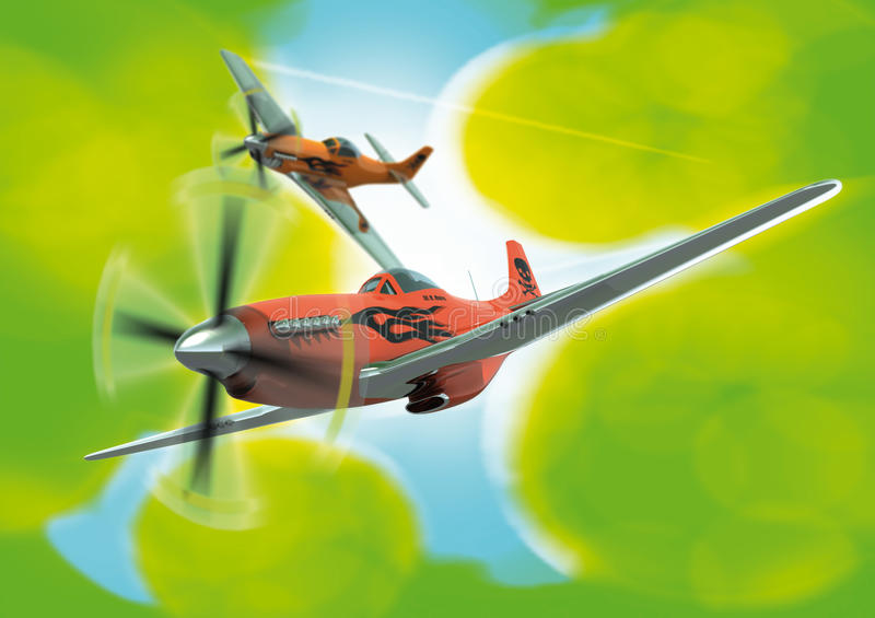 Download Stylised P-51D's In Formation Stock Illustration - Image: 10130013