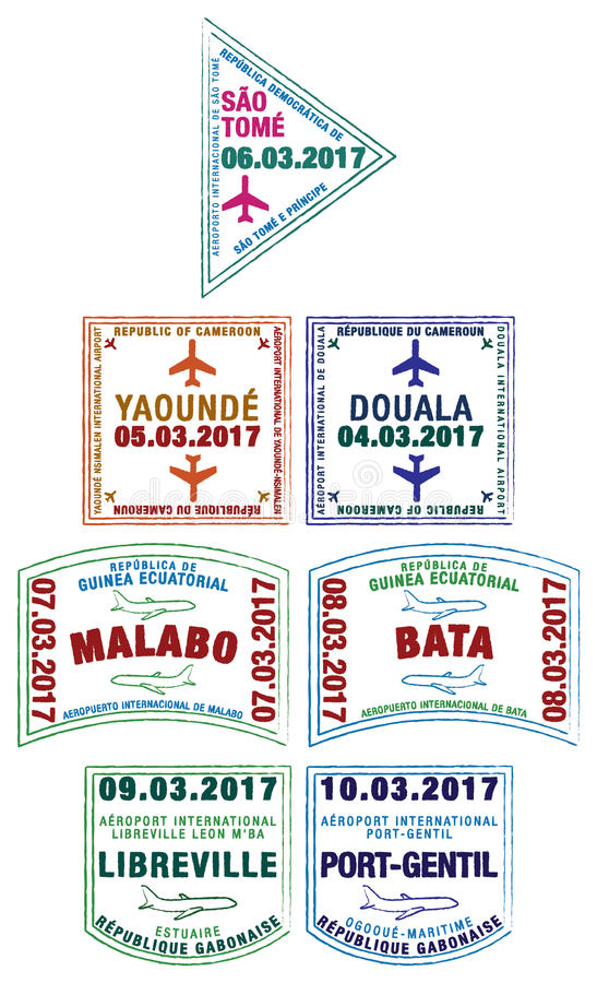 Free Stylised Passport Stamps Of Africa Stock Photos - 87057303