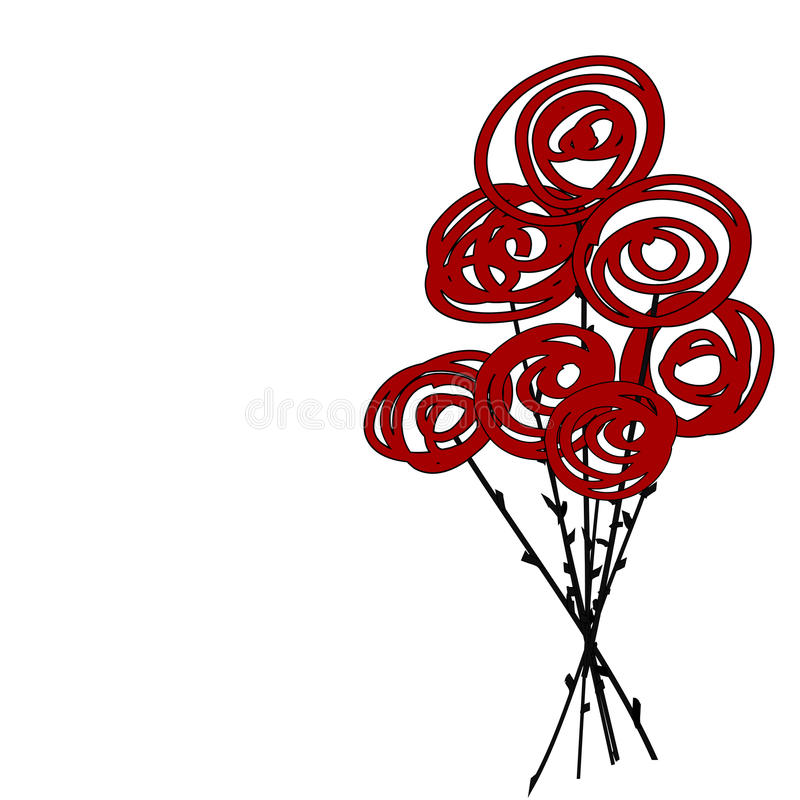 Stylised red roses. Stylised bouquet of red roses vector illustration