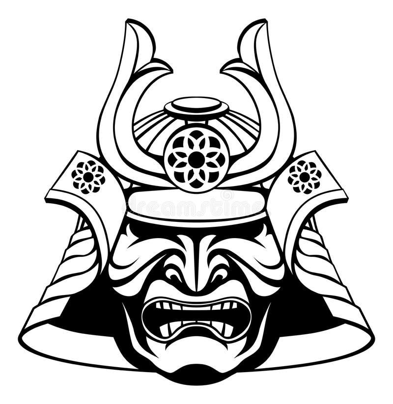 Шлем самурая картинки черно белые