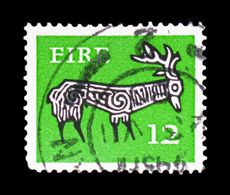 Stylised Stag, 8th Century, Early Irish Art 1974-83 serie, circa 1977. MOSCOW, RUSSIA - FEBRUARY 10, 2019: A stamp printed in Ireland shows Stylised Stag, 8th stock photography