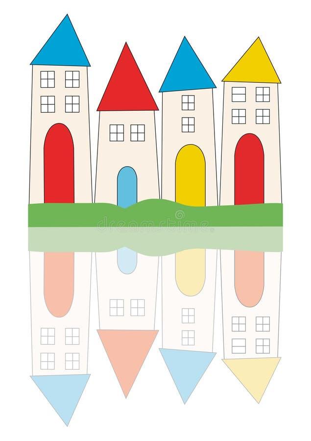 stylised tecknande nya hus royaltyfri illustrationer