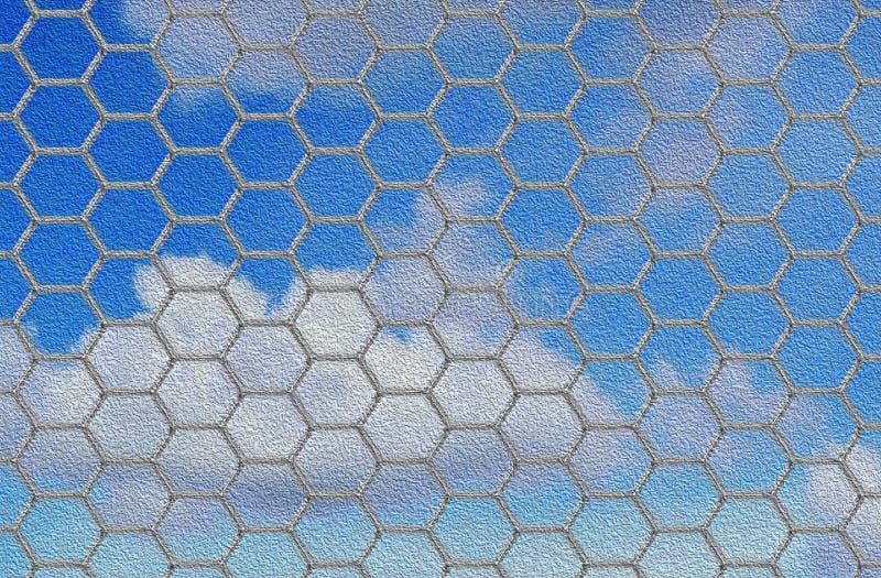 Stylised metal fence. Stylised textured metal hexagonal grid / fence stock photography