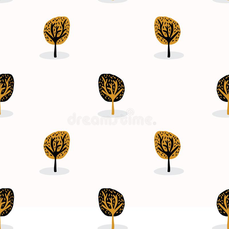 Stylised Tree Wood Repeating Seamless Pattern, Hand Drawn Vintage Style vector illustration