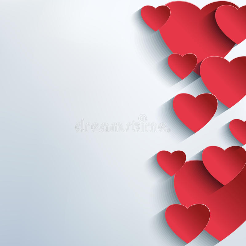 Stylish abstract background with 3d red hearts vector illustration