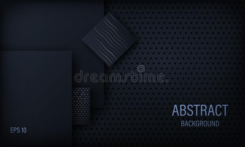 Stylish abstract background, wallpaper, black and blue with square elements with silver circles and lines. Vector illustration vector illustration