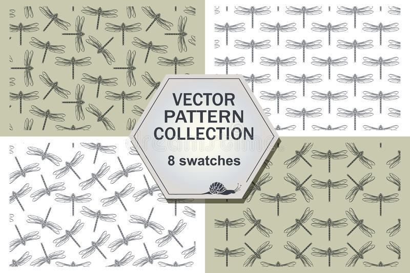 Stylish abstract dragonfly four pattern. stock illustration