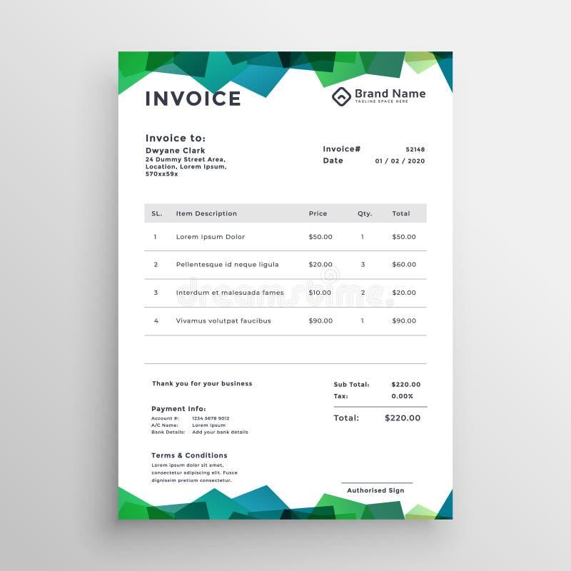 Stylish abstract modern invoice template design stock illustration