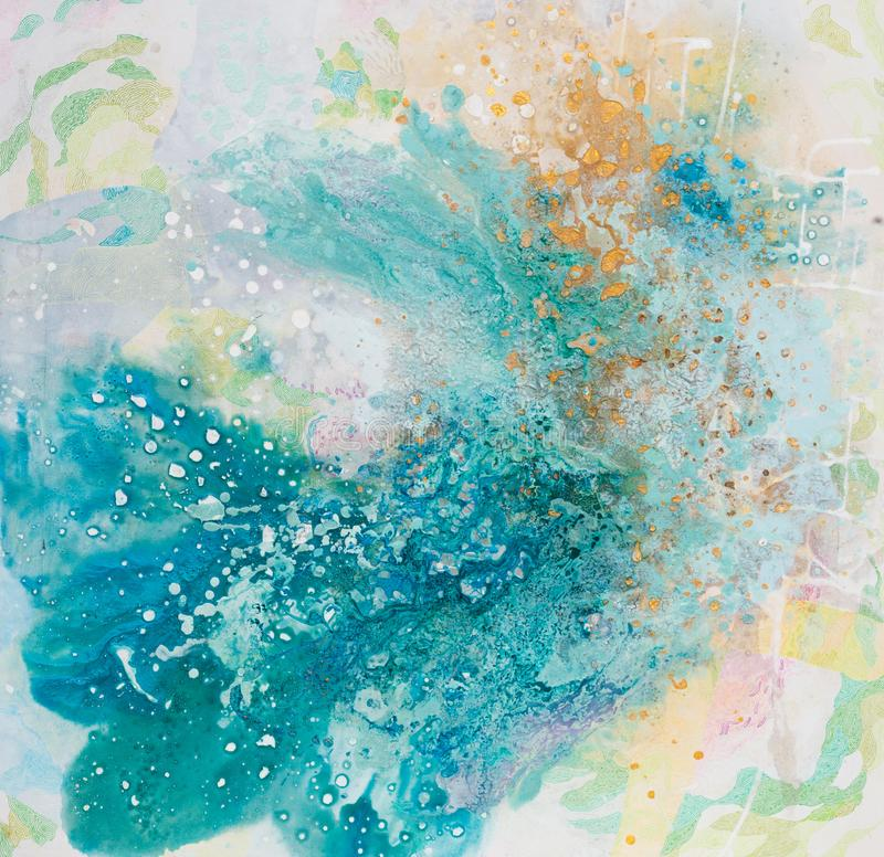 Stylish abstract painting in ecellent light blue tone. royalty free stock photo