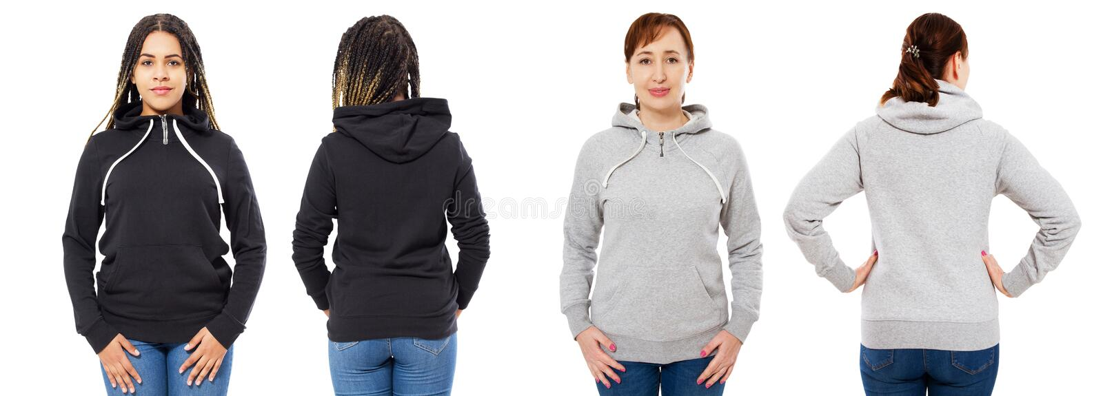 Stylish afro american girl in black hoodie mock up, beautiful woman in grey hood set front and back view, sweatshirt isolated stock image