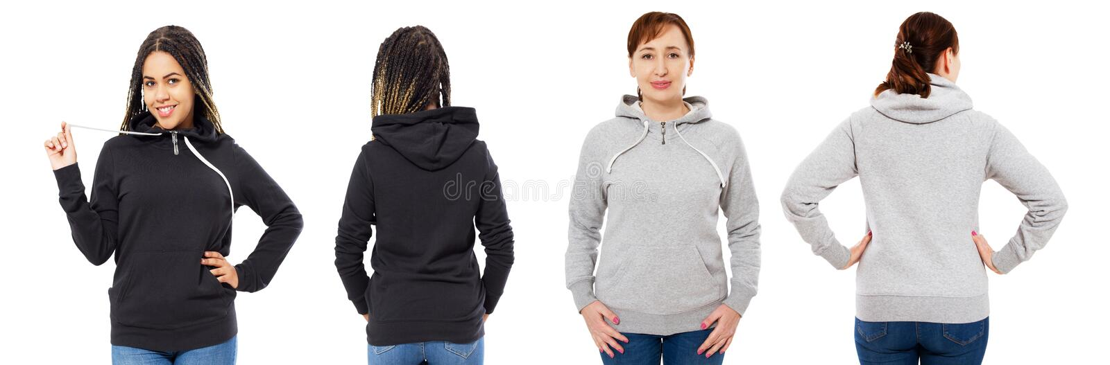 Stylish afro american girl in black hoodie mock up, beautiful woman in grey hood set front and back view, sweatshirt isolated royalty free stock photos