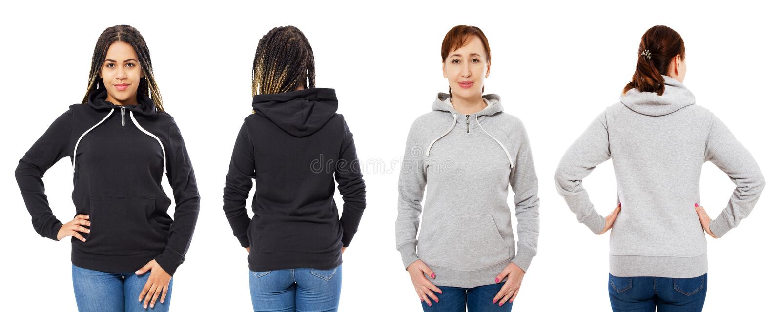 Stylish afro american girl in black hoodie mock up, beautiful woman in grey hood set front and back view, sweatshirt isolated royalty free stock photography
