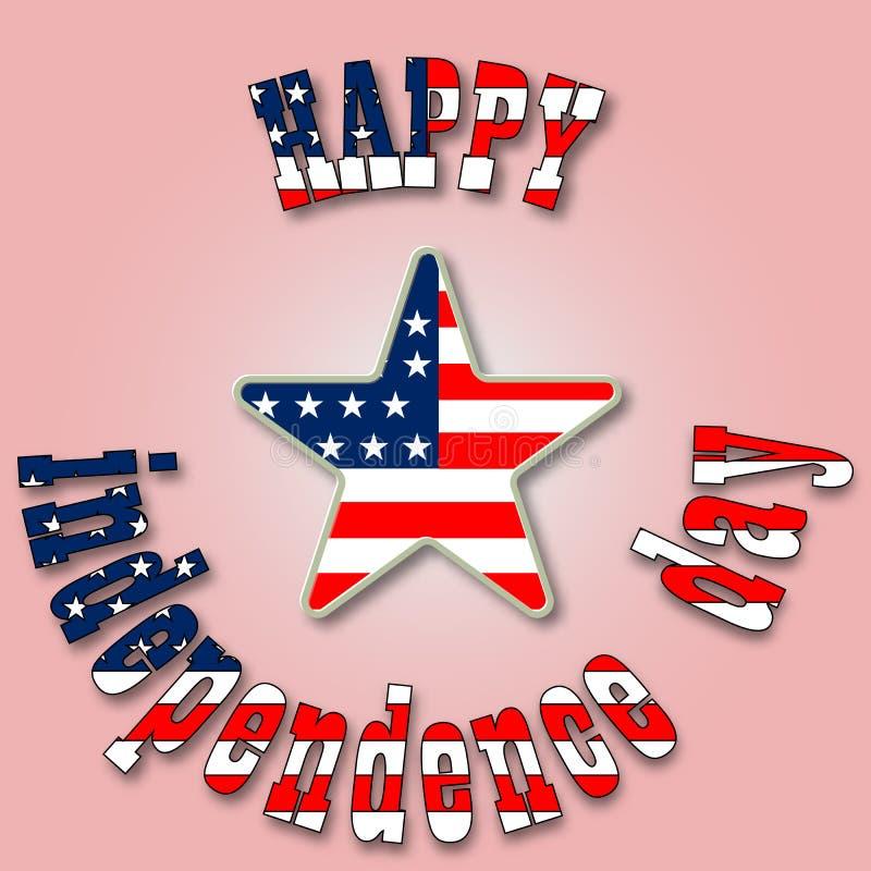 Stylish american independence day, 4 July design. Illustration royalty free illustration
