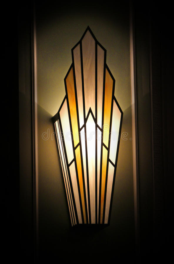 Stylish art deco wall light. Photo of a stylish art deco wall light from the 1930's period. photo ideal for period furniture,1930,lighting etc royalty free stock image