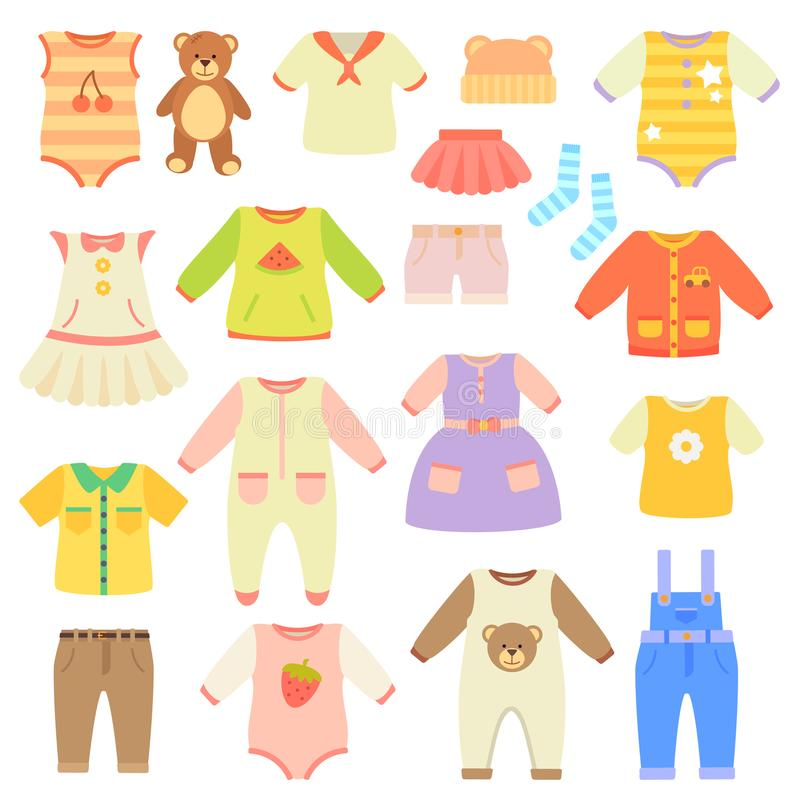 Stylish Baby Clothes Collection for Boys and Girls vector illustration