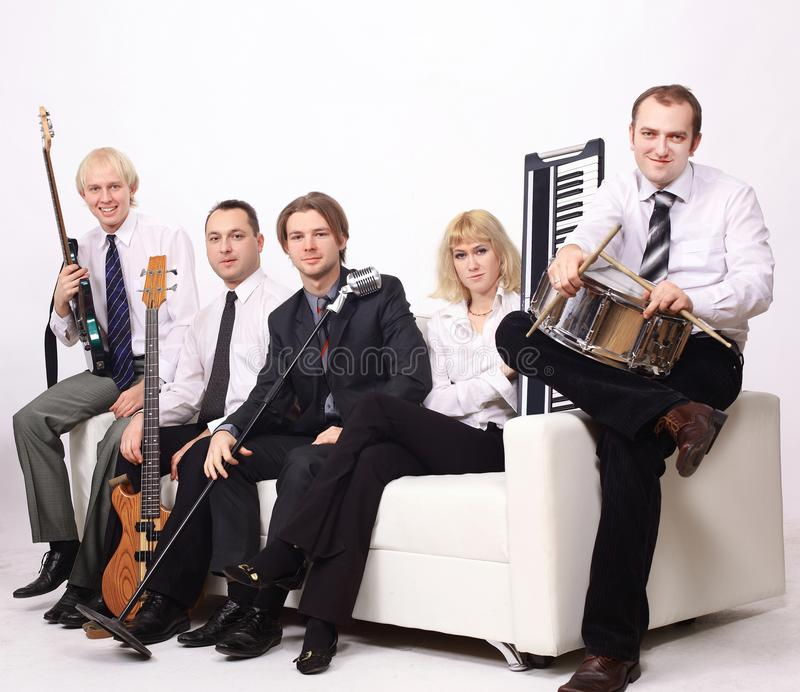 Stylish band with instruments.isolated on a white background. stock images