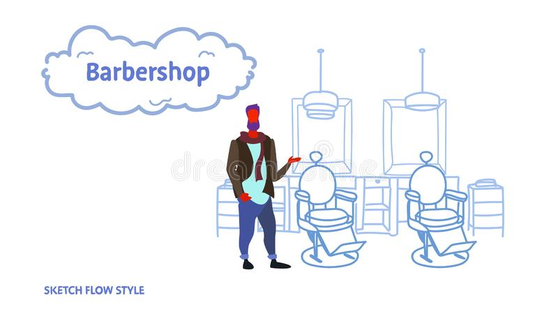 Stylish barber standing near retro style haircut chair male hairdresser in hair salon modern barbershop interior sketch stock illustration