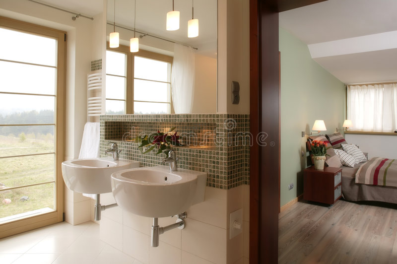 Stylish Bathroom and Bedroom stock photo