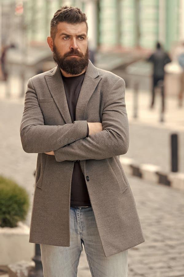 Stylish beard and mustache fall and winter season. Man bearded hipster stylish fashionable coat. Bearded and cool stock photography