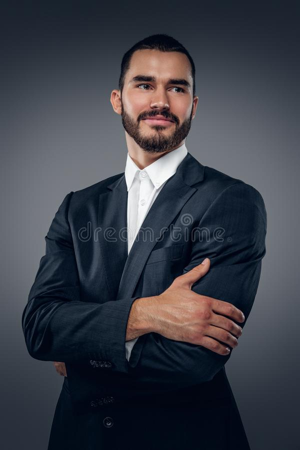 A man dressed in a business suit and a white shirt. stock images
