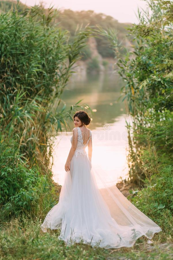 Stylish, beautiful bride posing in a luxurious dress against the backdrop of a sunset and a river. Fine Art Wedding stock photo
