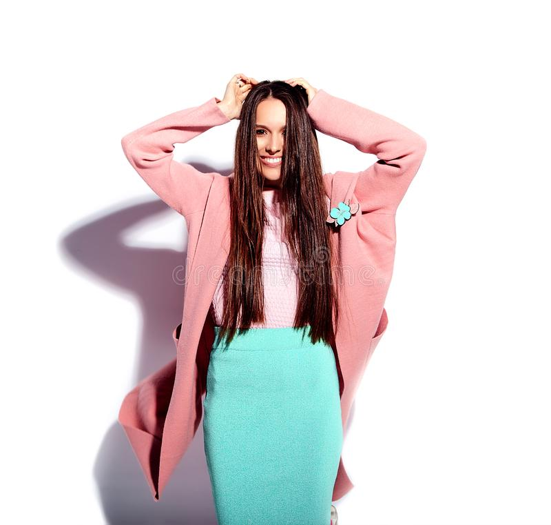 Stylish beautiful brunette woman model posing in studio royalty free stock photos
