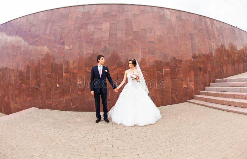 Stylish beautiful happy bride and groom, wedding stock photography
