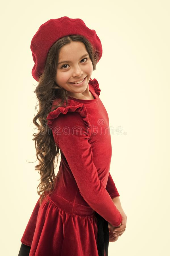 Stylish and beautiful. Little kid with stylish long hair. Fashion girl. Adorable girl child in fashionable clothes. Happy small child. Fashion look of small stock photography