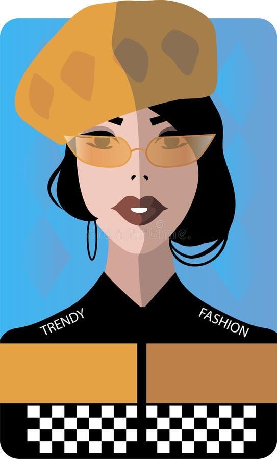 Stylish beautiful model for fashion design. Art deco graphic illustration. Portrait of pretty girl with glasses. Elegant vector style royalty free illustration