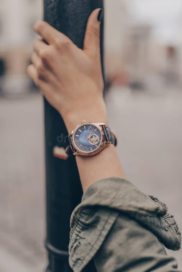 Stylish beautiful watch on woman hand stock image