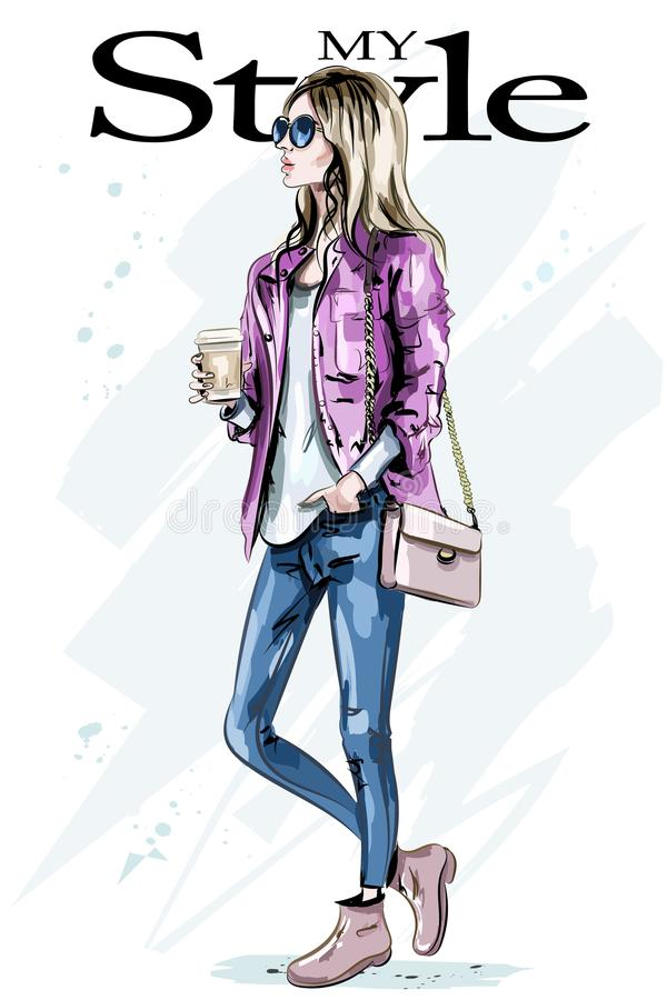 Stylish beautiful young woman with coffee mug. Hand drawn fashion woman. Cute girl with blond hair. Sketch royalty free illustration