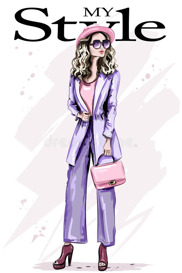 Free Stylish Beautiful Young Woman In Hat. Fashion Woman In Sunglasses. Cute Lady In Fashion Clothes. Stylish Outfit. Sketch. Stock Image - 104345991