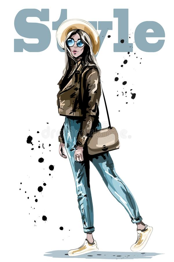 Free Stylish Beautiful Young Woman In Hat. Fashion Woman In Sunglasses. Sketch. Hand Drawn Girl With Bag. Stock Photo - 110331810