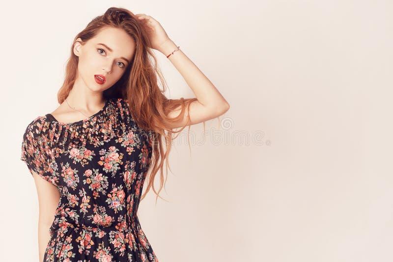 Stylish beauty model girl wearing dark wooden sunglasses and dress. Fashion beautiful woman with long hair wearing sunglasses. stock photos