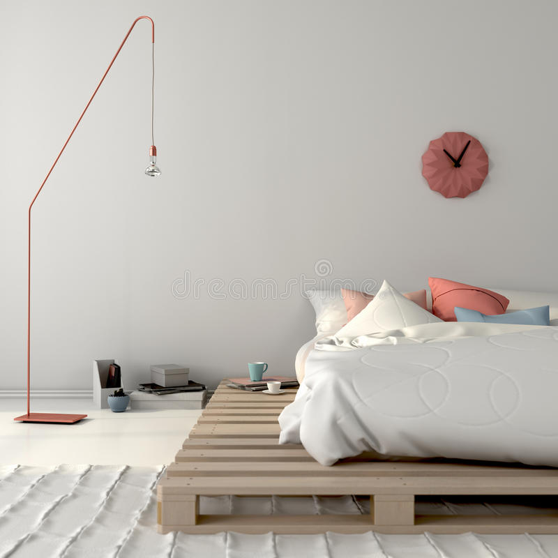 Stylish bed on wooden pallets and pink décor. Stylish white bedroom with a bed on wooden pallets and pink décor royalty free stock photo