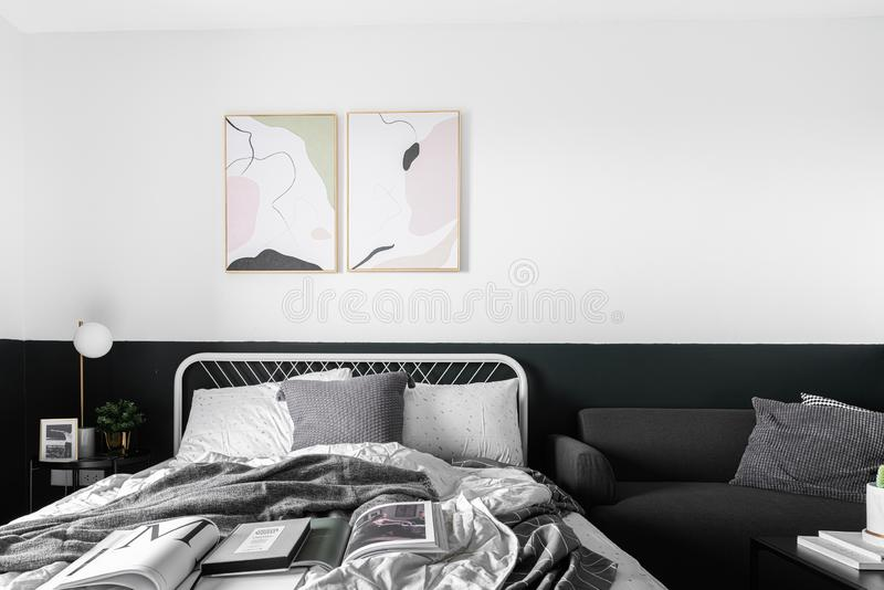 Stylish bedroom corner in scandinavian style with well decoration with sofa / decoration idea / interior design / stylish decor royalty free stock images