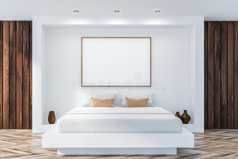 Stylish bedroom interior with white bedding of king size bed in fashionable royalty free illustration