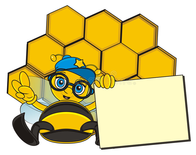 Stylish bee hold a clean plate near the cell stock illustration