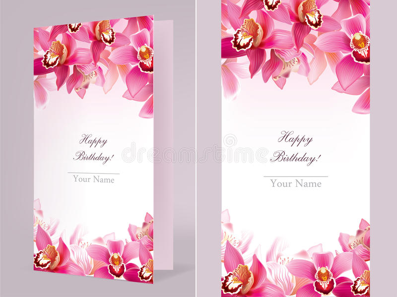 Stylish birthday card with orchid. Contains transparent objects. EPS10 vector illustration